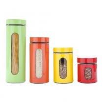 Cj 4Pc Porta Mantimentos De Aço Inox E Vidro Colorido - F9-25800 - Rojemac