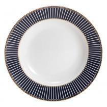 Cj. 6 Pratos De Sopa De Porcelana Alto Relevo Cobalto C/  Dourado - F9-25447 - Wolff