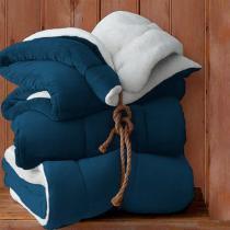 Coberdrom Casal Sultan Naturalle Liso com Sherpa e Flannel Azul Marinho -