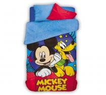 Coberdrom infantil menino Fleece Dupla Face Estampado Mickey e Pluto - Lepper