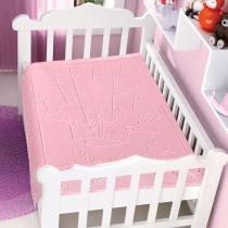 Cobertor Bebê Raschel com Relevo Balão Rosa  - Jolitex -