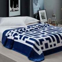 Cobertor Casal Aveludado Estampado Davis Marinho 1,80x2,20 - Corttex
