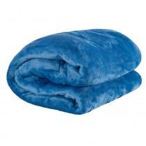 Cobertor Casal King Manta de Microfibra 01 Peça (Toque Aveludado) - Azul - Guilherme enxovais