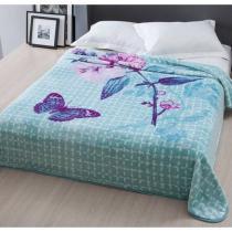 Cobertor Casal Raschel Home Design  Corttex - Wendy - Azul - Corttex