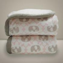 Cobertor Donna Bebê 100x75 cm Elefante Rosa com Sherpa - Donna