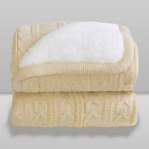 Cobertor Donna Bebê 100x75 cm Lã Kaki com Sherpa -