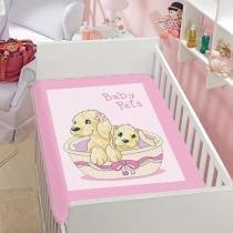 Cobertor Infantil Tradicional Baby Pets - Jolitex - Rosa - Jolitex
