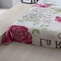 Cobertor King Aveludado Estampado Rosera Bege 2,20x2,40 - Corttex