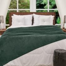 Cobertor King Flannel Microfibra Yaris Verde Militar -
