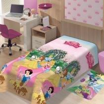 Cobertor Manta Microfibra Solteiro Disney Princesas Jardim Jolitex Ternille - Jolitex Ternille