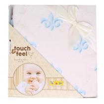 Cobertor touch feel bege e azul - ÚNICO - Colibri