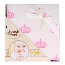 Cobertor touch feel bege e rosa - Colibri