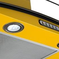 Coifa em vidro curvo slim amarelo de 60 cm - 127 volts - Amarelo - Fogatti