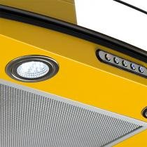 Coifa em vidro curvo slim amarelo de 70 cm - 127 volts - Amarelo - Fogatti