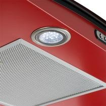 Coifa em vidro curvo slim vermelho de 75 cm - 127 volts - Vermelho - Fogatti