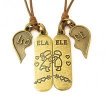 Colar Casal Love Ele + Ela Dois Corações Ouro Velho Ajustável - Youser acessórios