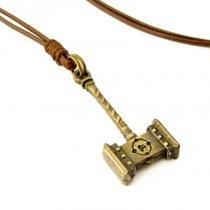 Colar Cordão Mjolnir Martelo de Thor Ajustável em Ouro Envelhecido - Youser acessórios