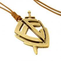 Colar Cordão Pingente Escudo da Fé Ouro Envelhecido Ajustável Marrom - Youser acessórios