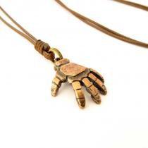 Colar Cordão Pingente Mão Homem de Ferro Bronze - Youser acessórios