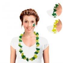 Colar Havaiano Verde e Amarelo Brasil 12 unidades CP029 - Festabox