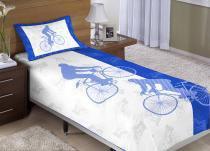 Colcha/Cobre-Leito Cama Solteiro Bicicleta Menino com 2 peças - Colcha + Porta Travesseiro - Aquarela