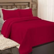 Colcha de piquet solteiro vermelha 1,60x2,50 - Fassini têxtil
