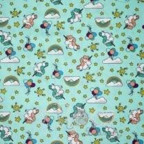 Coleção unicórnio fundo azul claro para patchwork - Fernando maluhy