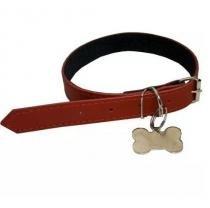 Coleira Para Cães Com Pingente Ossinho Vermelha - Amf pet