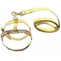 Coleira peitoral c/ guia para cães emily floral dourada bicho com luxo -
