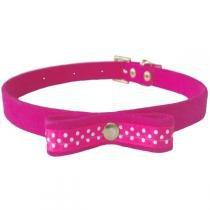 Coleira plush bolinha para cães rosa bicho com luxo - 1 (38cm) - Bicho com luxo