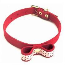Coleira plush bolinha para cães vermelha bicho com luxo -