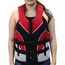Colete salva vidas 60/70 kg preto e vermelho - VENTURA - Nautika -