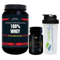 Combo 100 Whey Nitech Morango + Bcaa Golden + Coqueteleira Transparente E Preta Saúdejá - Nitech nutrition