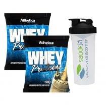Combo 2 Whey Protein - 500G - Baunilha - Atlhetica + Coqueteleira Transparente E Preto Saúdejá - Atlhetica