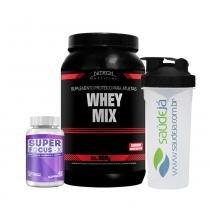 Combo Foco: Whey Mix Nitech Morango + Super Focus X Intlab + Coqueteleira Transparente E Preta Saúdejá - Nitech Nutrition