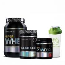 Combo Massa Muscular 1 - Hiper Whey Protein - 900g - Millennium - Probiótica + Dextrose - 1 Kg - Probiótica + BCAA Powder - 200g - Probiótica + Coqueteleira Shaker Mix Boy - 600ml - Labrada Nutrition - Combo