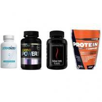 Combo Massa Muscular 7 - Amino Power - 150 Tabletes - Probiótica + Halovar Testo - 60 Cápsulas - Intlab + ProteinComplex Premium - 900g - New Millen + Xtrasize - 60 Cápsulas -