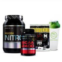 Combo Massa Muscular 9 - Maltodextrin - 1Kg - Health Labs + Massa Nitro - 1,4Kg - Probiótica + BCAA 2400 - 120 Tabletes- Millennium - Probiótica + Coqueteleira Shaker c/ Divisória - 600ml - Probiótica - Combo