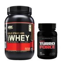 Combo Whey Gold Standard 909G Optimum Nutrition Chocolate + Super Turbo Force Intlab - Intlab