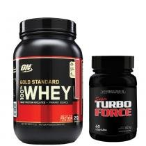 Combo Whey Gold Standard 909G Optimum Nutrition + Super Turbo Force Intlab - Morango - Intlab