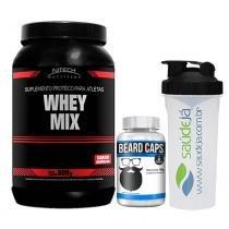 Combo Whey Mix Nitech Baunilha + Beard Caps Intlab + Coqueteleira Transparente E Preta Saúdejá - Nitech Nutrition