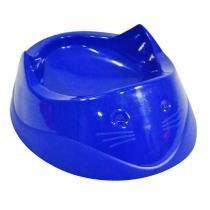 Comedouro plástico cara do gato 200ml  azul - Furacão pet