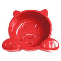 Comedouro Plástico Pet Injet Cat Face 600 mL - Vermelho -