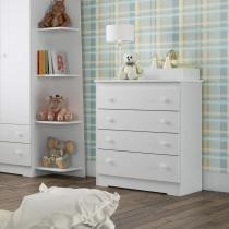Cômoda de Bebê 4 Gavetas BB800 Completa Móveis Branco -