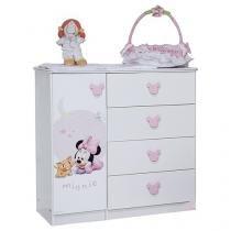 Cômoda Infantil 1 Porta 4 Gavetas Pura Magia - Baby Minnie