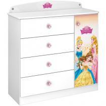 Cômoda Infantil 1 Porta 4 Gavetas Pura Magia - Star Princesas Disney