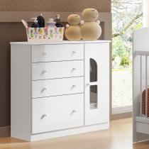 Cômoda p/ Quarto de Bebê 1 Porta 4 Gavetas e Vidro - Pintura UV e Laca PU - Branco Brilho - Multimóveis