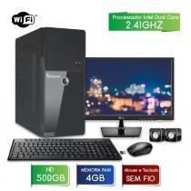 Computador 3green fast com monitor 19.5 lg intel dual core 4gb 500gb wifi mouse teclado sem fio - 3green technology