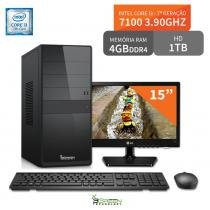 "Computador 3green Select Intel Core I3 7100 4GB 1TB Monitor 15"" LG 16M38A - 3green technology"