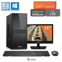 "Computador 3green Select Intel Core I3 7100 8GB 1TB Windows 10 Monitor 15"" LG 16M38A - 3green technology"